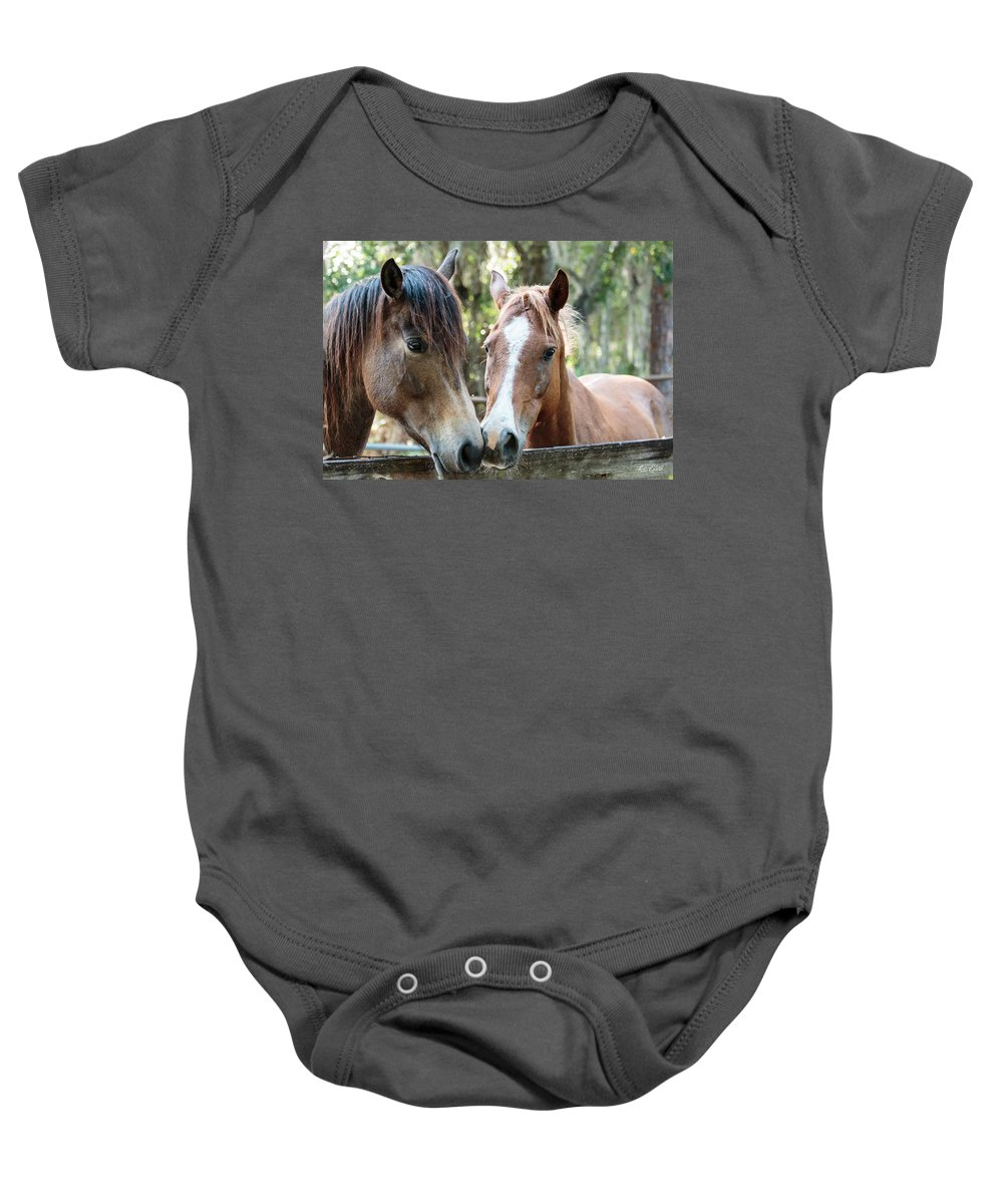 Florida Baby Onesie featuring the photograph Babcock Wilderness Ranch - Horse Friends Forever by Ronald Reid