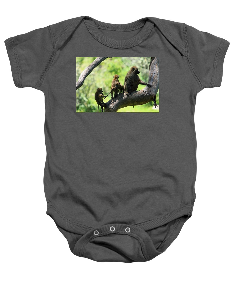 Baboon Baby Onesie featuring the photograph Baboon Family by Aidan Moran