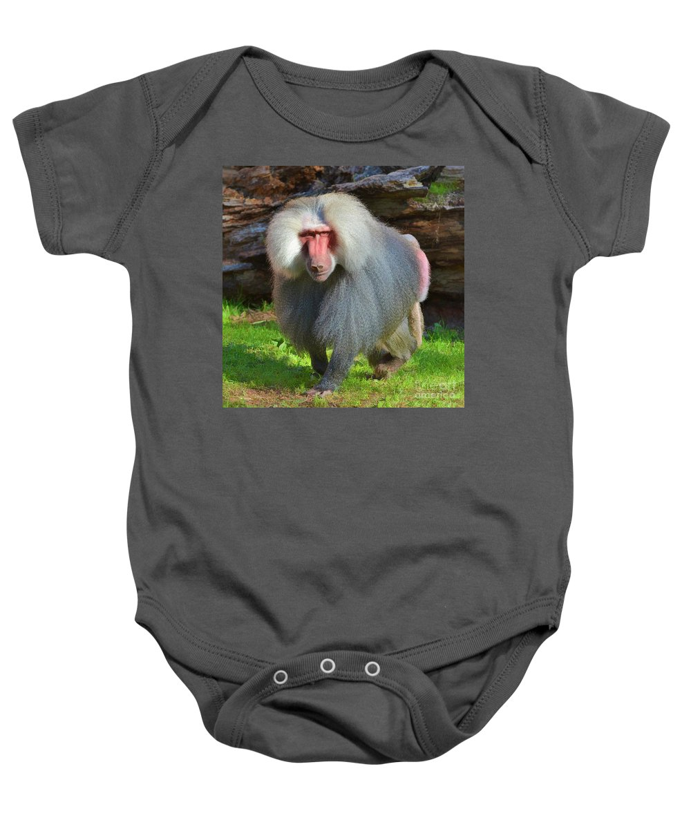 Baboon Baby Onesie featuring the photograph Baboon Stalking by Kathy Baccari