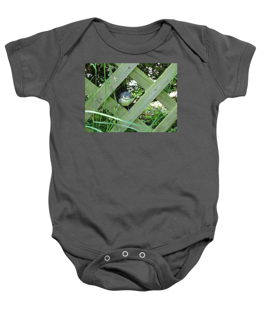 Bird Baby Onesie featuring the photograph Baby Blue Tit by Wendy Davies