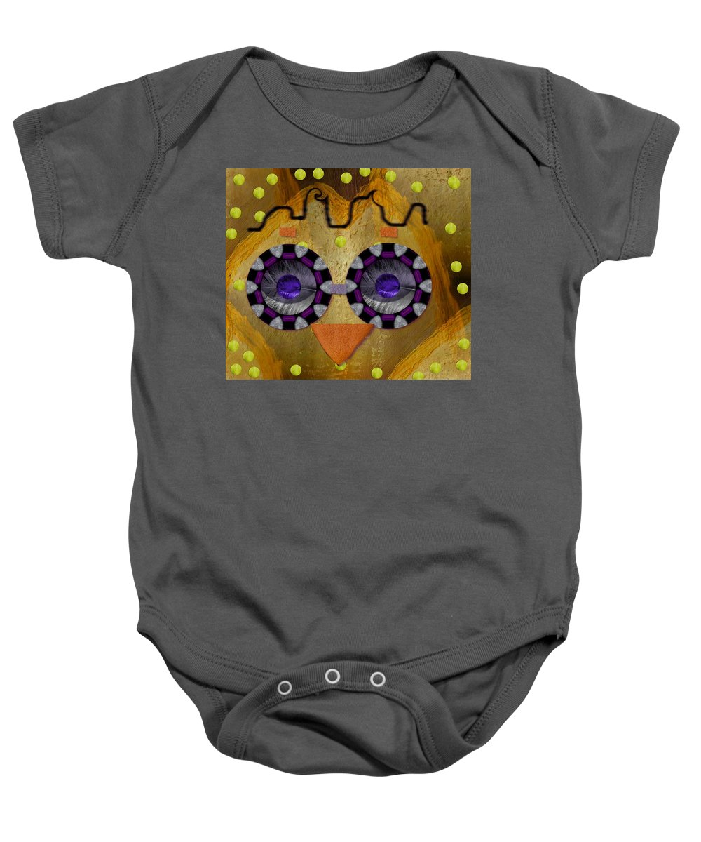 Owl Baby Onesie featuring the mixed media Baby Owl Is So Cute In The Forrest by Pepita Selles
