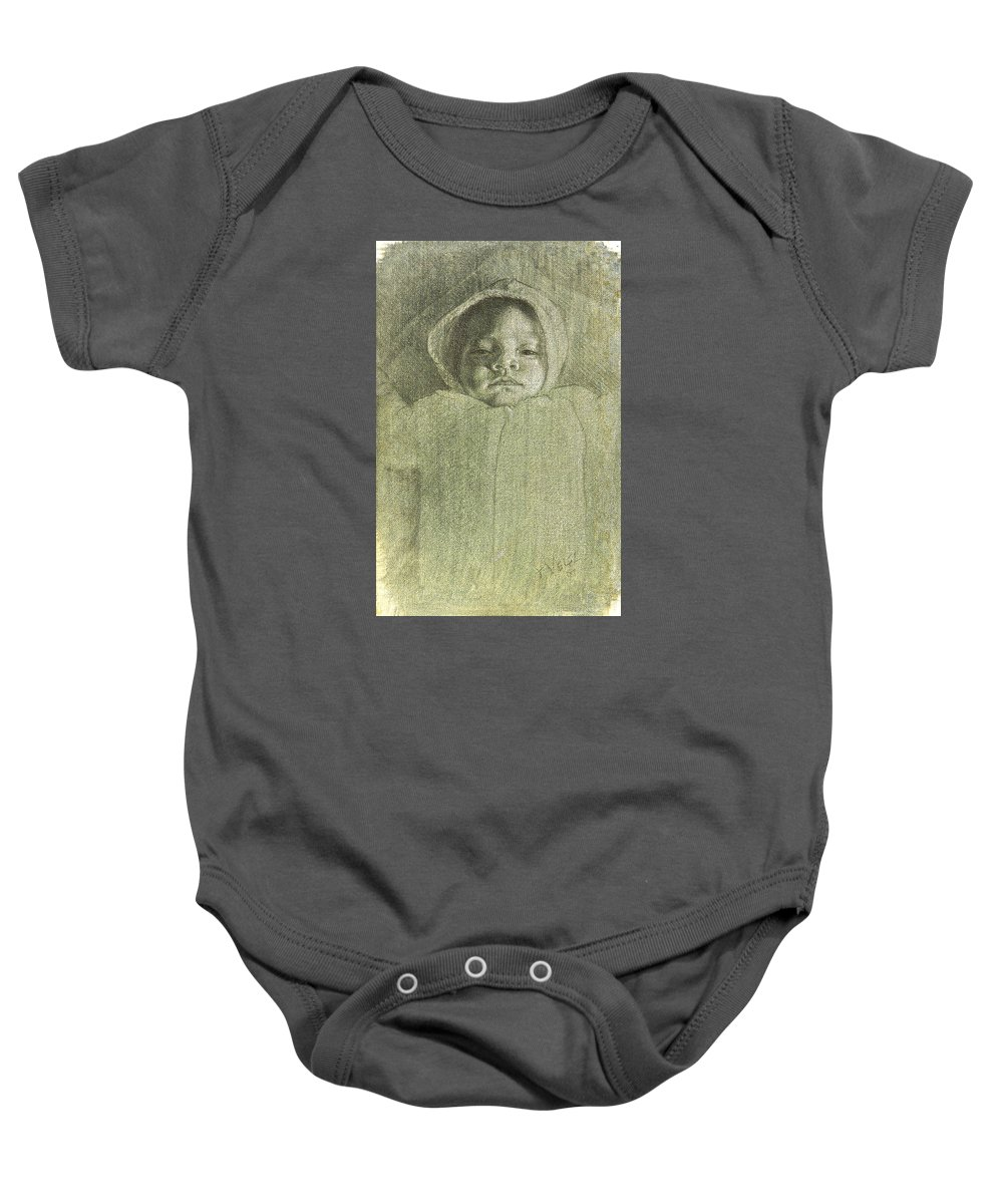 Baby Onesie featuring the painting Baby Self Portrait by Joe Velez