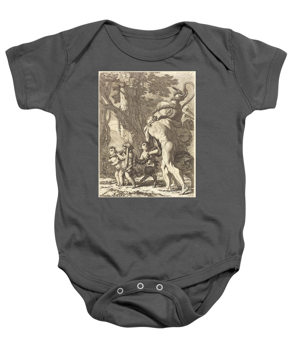 Baby Onesie featuring the drawing Bacchanal With Figures Carrying A Vase by Michel Dorigny