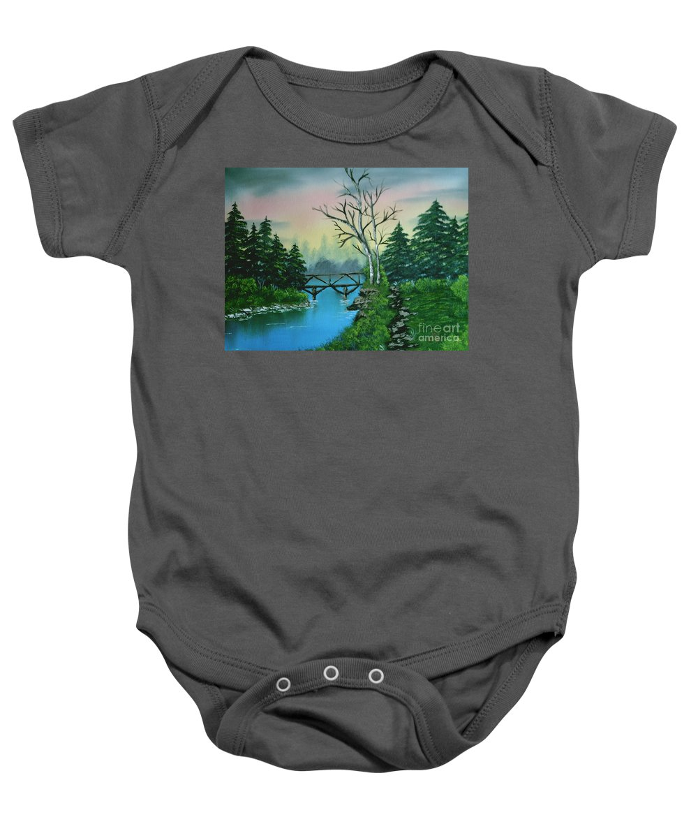 Landscape Baby Onesie featuring the painting Back Woods Bridge by Jim Saltis