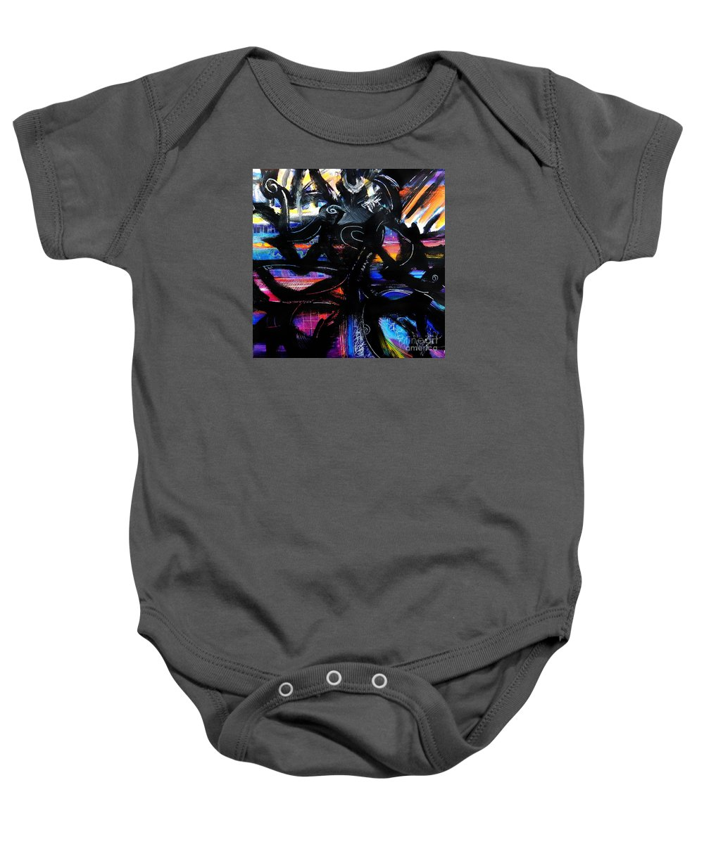 Original Painting On Canvas .abstract Baby Onesie featuring the painting Badass Black by Priscilla Batzell Expressionist Art Studio Gallery