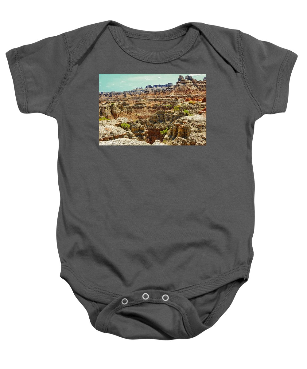Badlands Baby Onesie featuring the photograph Badlands 7 by Ingrid Smith-Johnsen