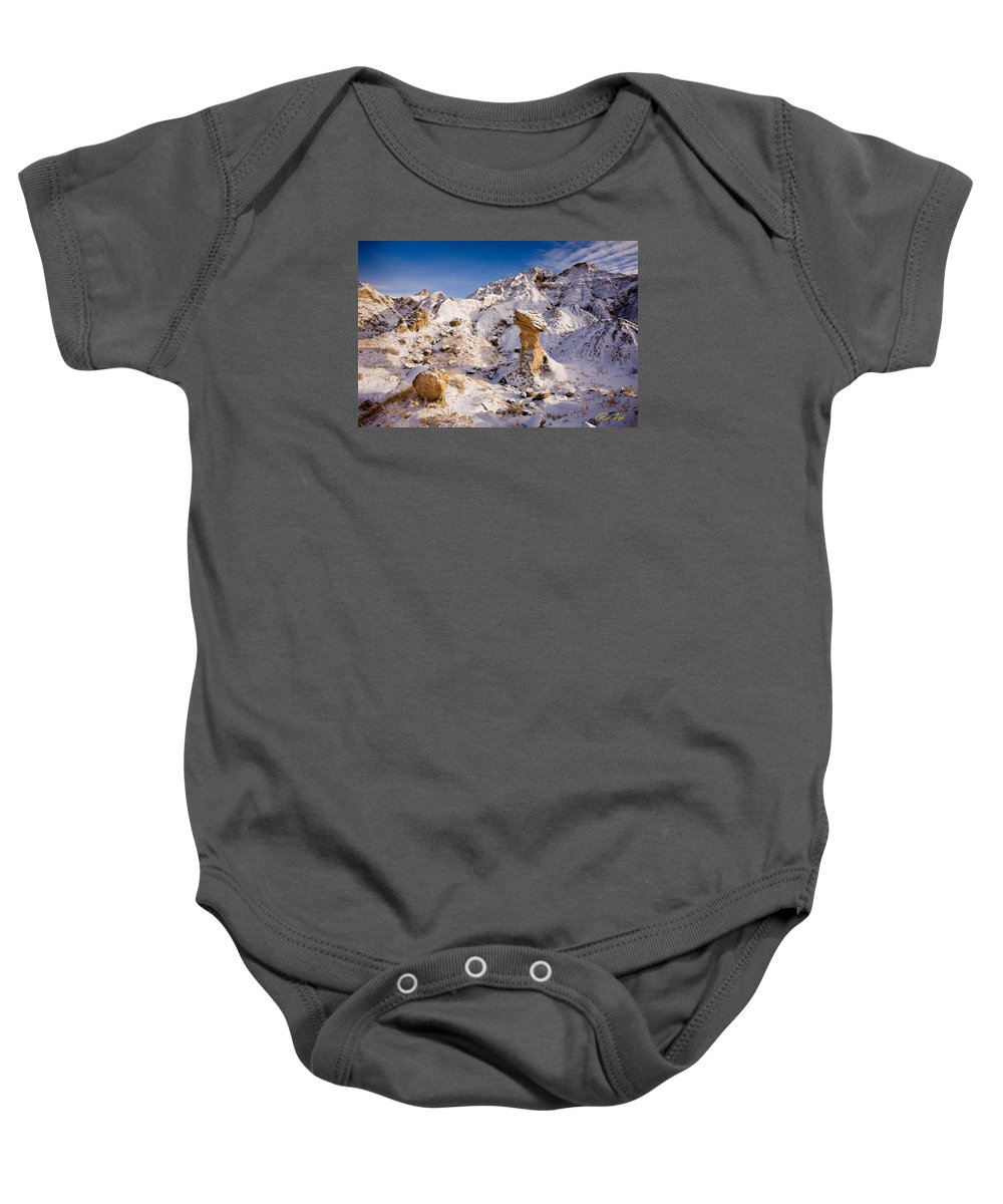 Hoodoo Baby Onesie featuring the photograph Badlands Hoodoo In The Snow by Rikk Flohr