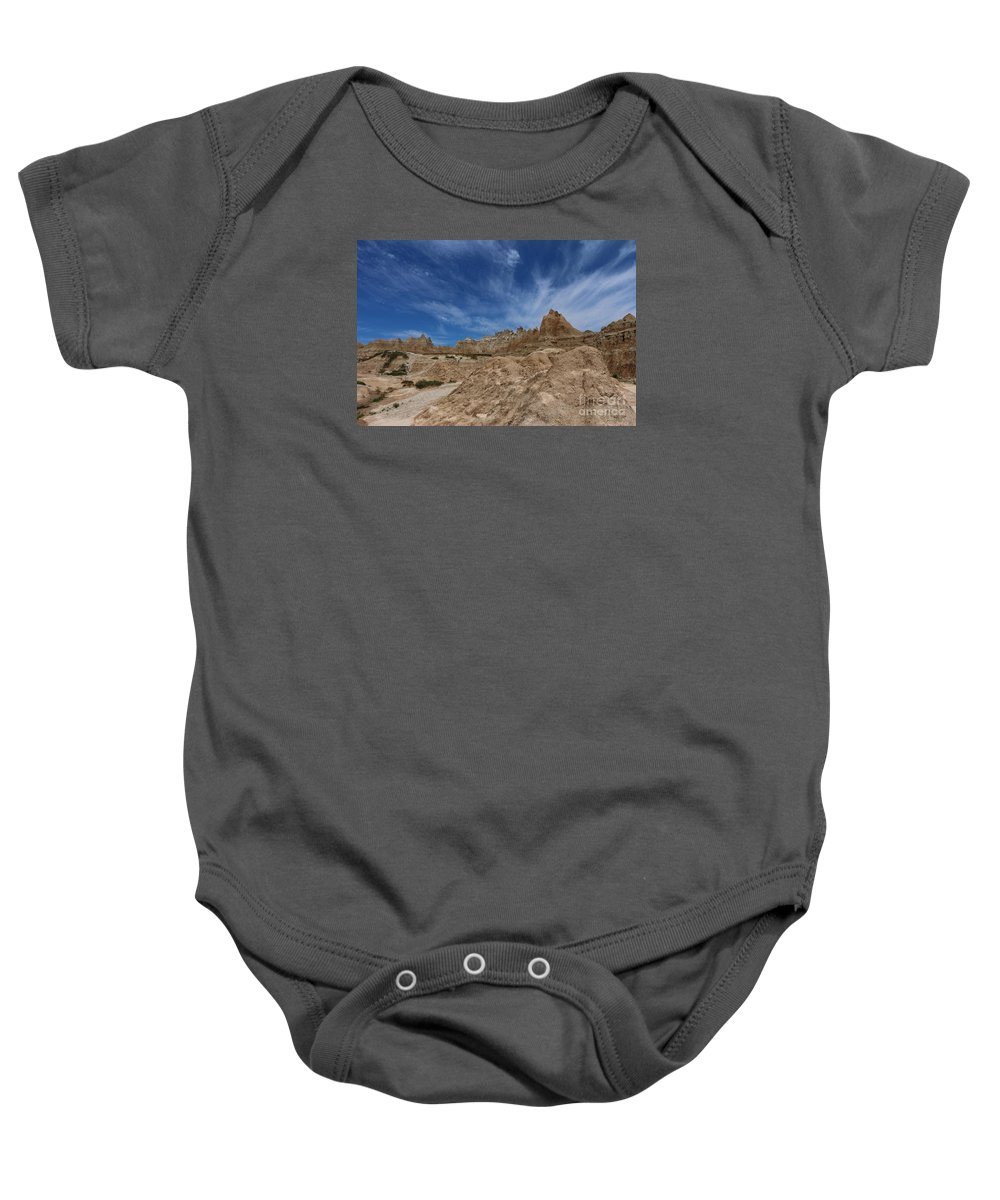 Badlands Baby Onesie featuring the photograph Badlands View From A Trail by Christiane Schulze Art And Photography