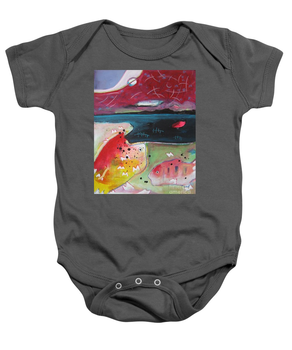 Acrylic Paintings Baby Onesie featuring the painting Baieverte by Seon-Jeong Kim