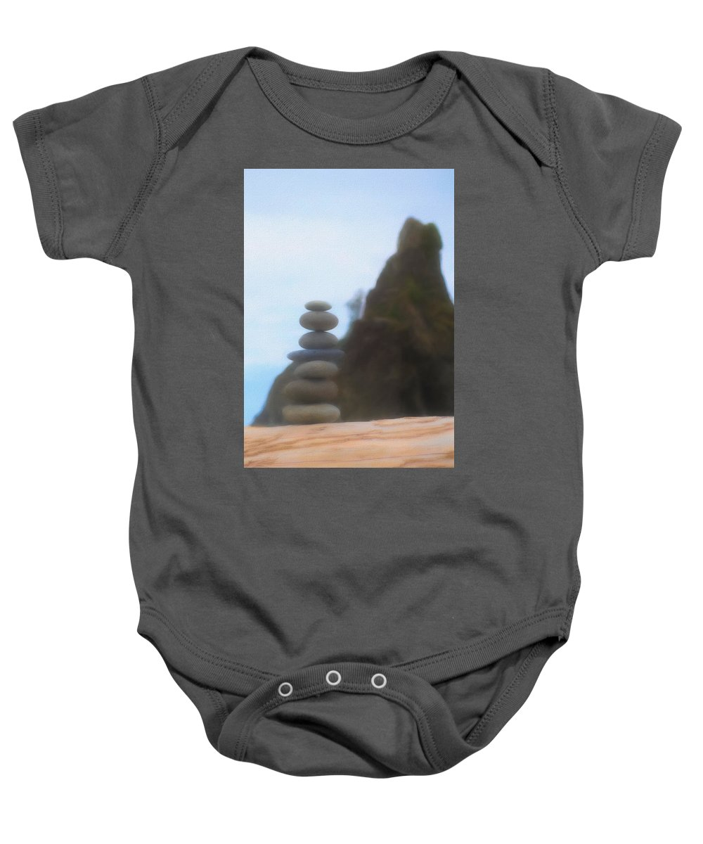 Be Balanced Be At Peace Baby Onesie featuring the mixed media Balanced Stones At La Push by Dan Sproul