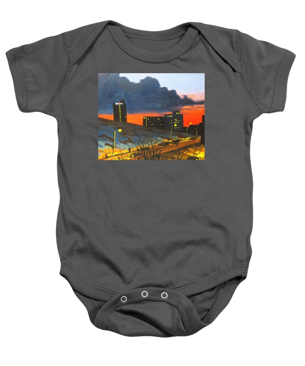 Sunset Baby Onesie featuring the painting Balcony View 2 by John Malone