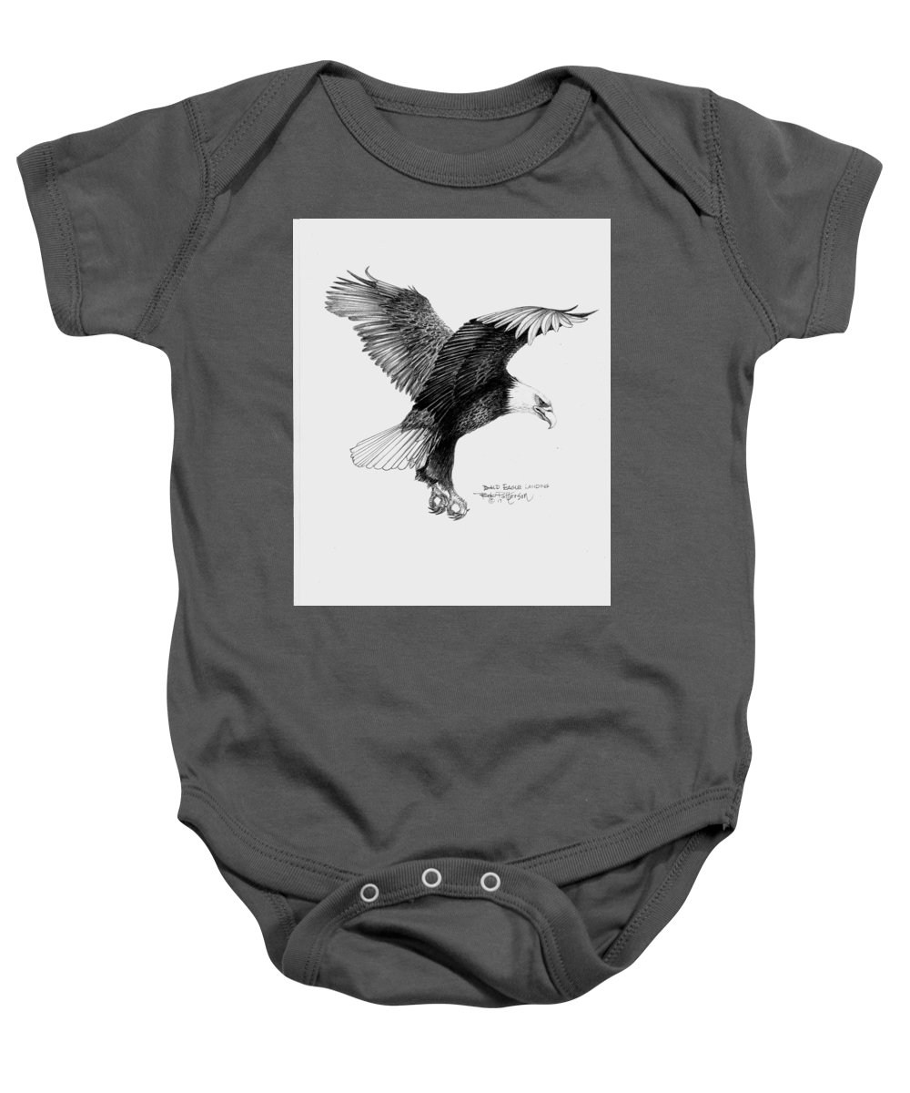 Eagle Baby Onesie featuring the painting Bald Eagle Landing by Bob Patterson