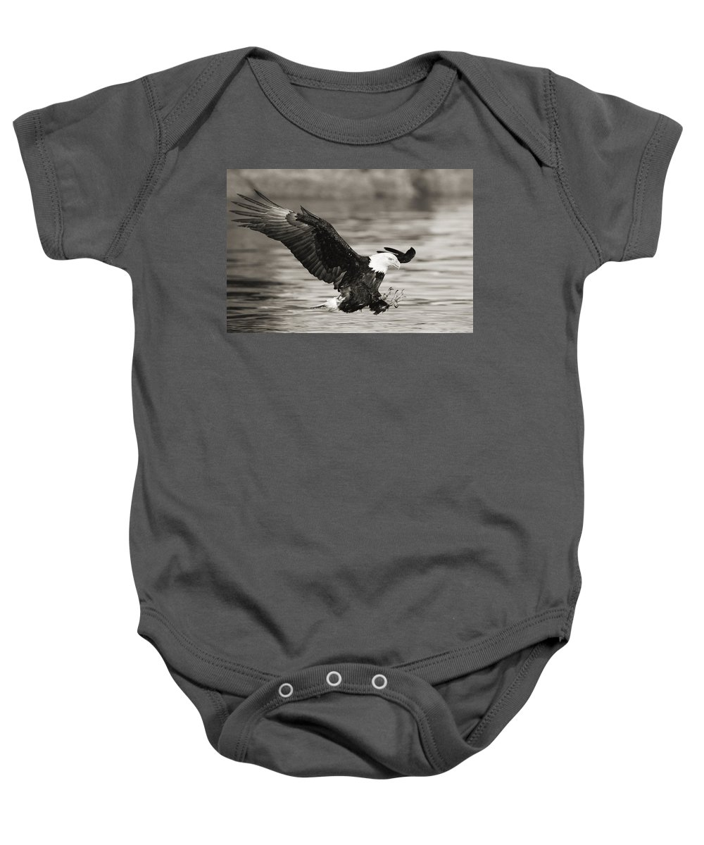 Air Art Baby Onesie featuring the photograph Bald Eagle Landing by John Hyde - Printscapes