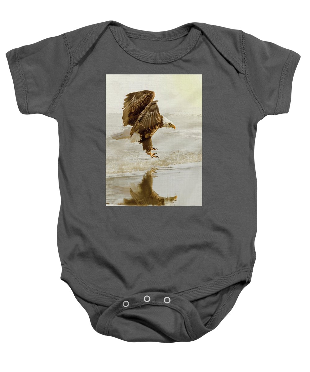 Eagle Baby Onesie featuring the photograph Bald Eagle Series #1 - Eagle Is Landing by Patti Deters