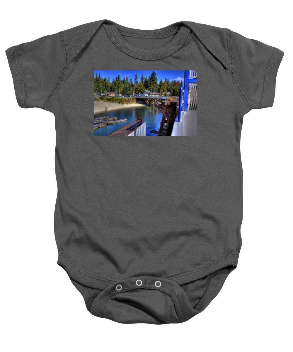 British Columbia Baby Onesie featuring the photograph Balfour Bc Docks And Ferry by Lee Santa