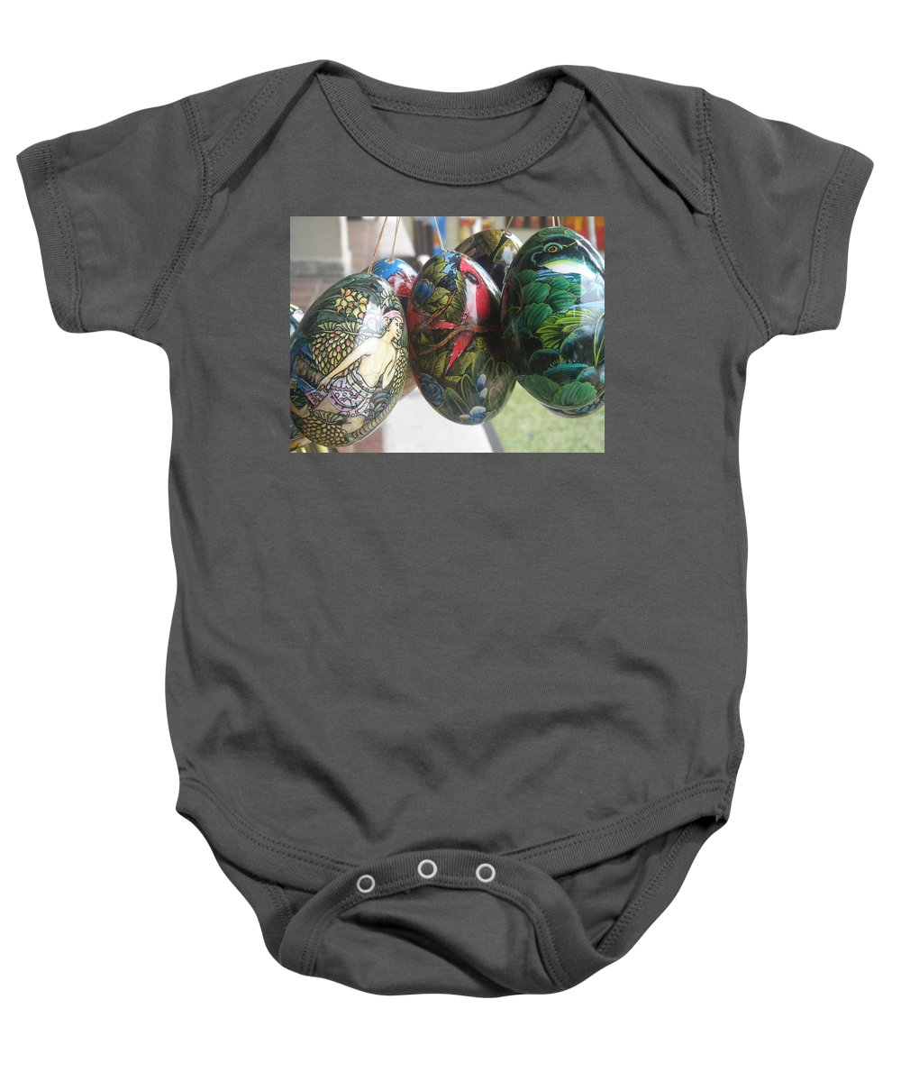 Bali Baby Onesie featuring the photograph Bali Wooden Eggs Artwork by Mark Sellers