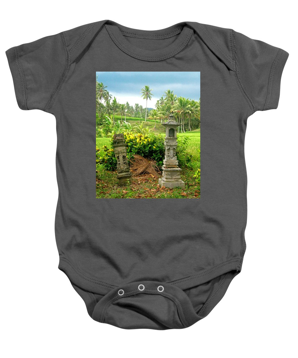 Indonesia Baby Onesie featuring the photograph Balinese Rice Field Shrines by Mark Sellers