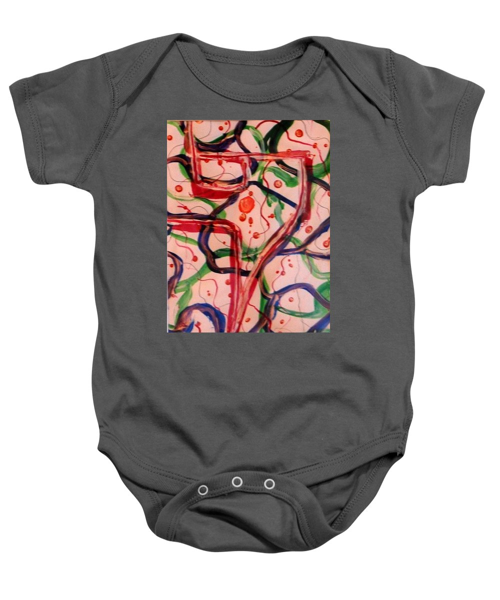 Abstract Baby Onesie featuring the painting Balloon Festival by Rita Lulay Malsch