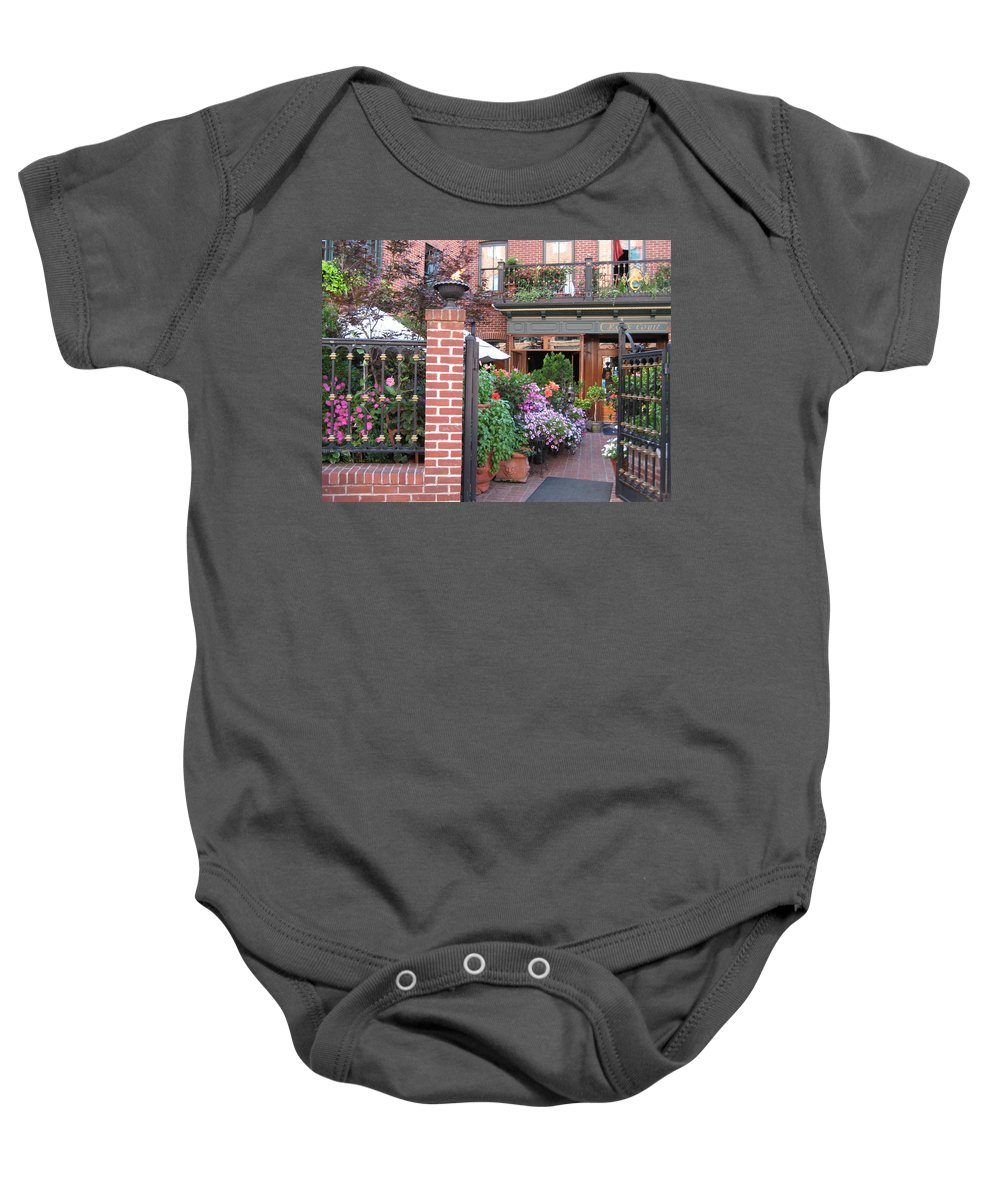 Courtyard Baby Onesie featuring the photograph Baltimore Cafe     By Jean Carton by Jerrold Carton