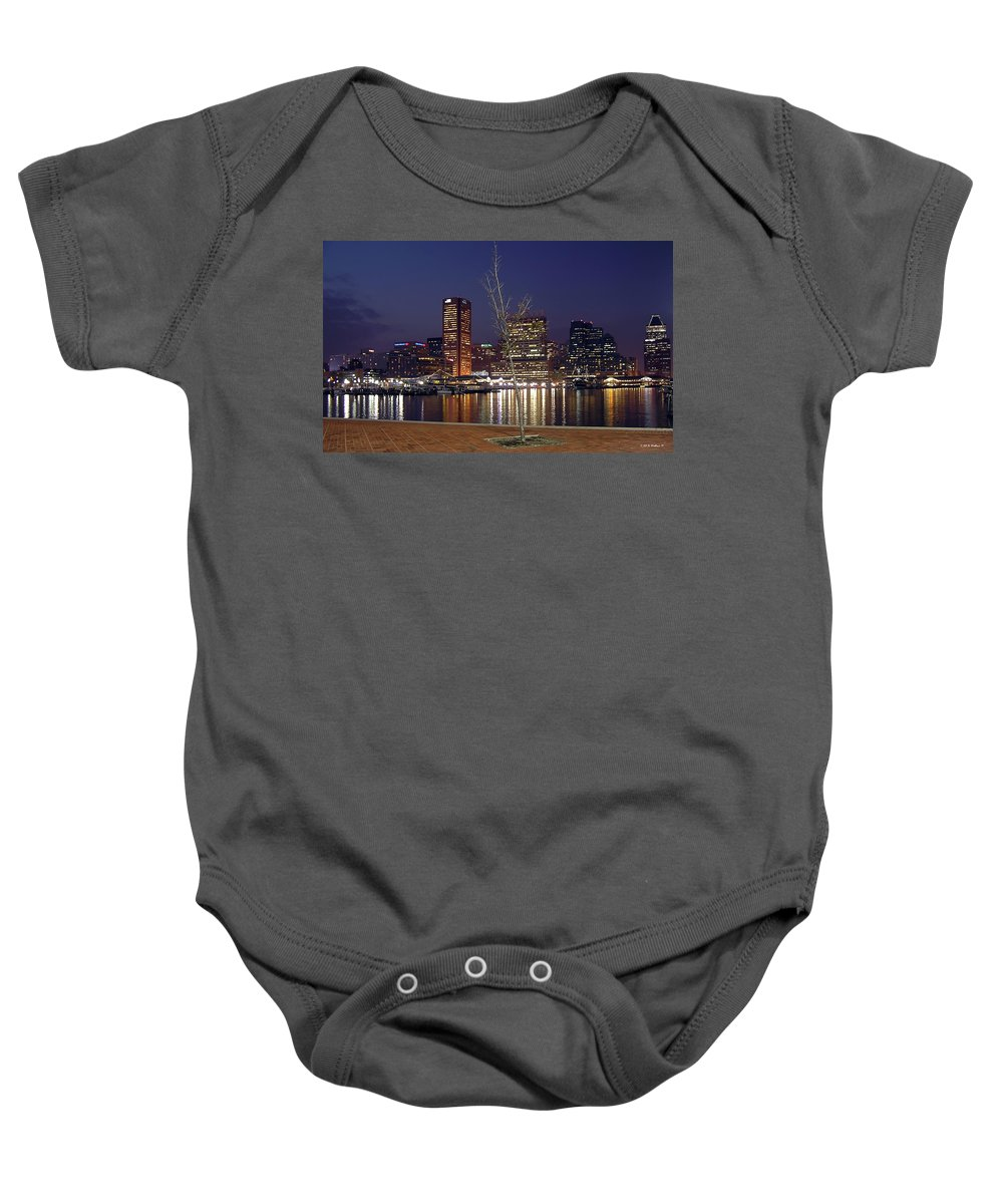 2d Baby Onesie featuring the photograph Baltimore Reflections by Brian Wallace