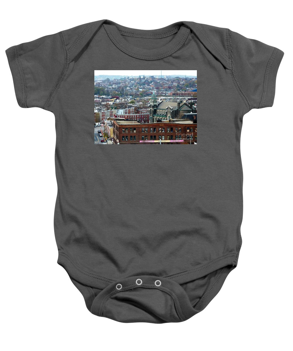 Cities Baby Onesie featuring the photograph Baltimore Rooftops by Carol Groenen