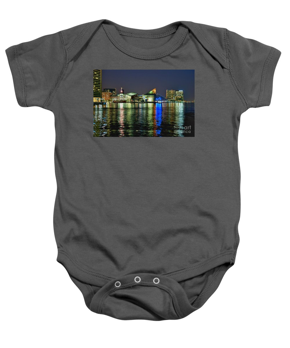 Baltimore Baby Onesie featuring the photograph Baltimore Skyline by John Greim