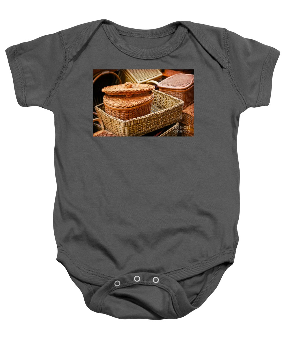 Bamboo Baby Onesie featuring the photograph Bamboo Baskets by Charuhas Images