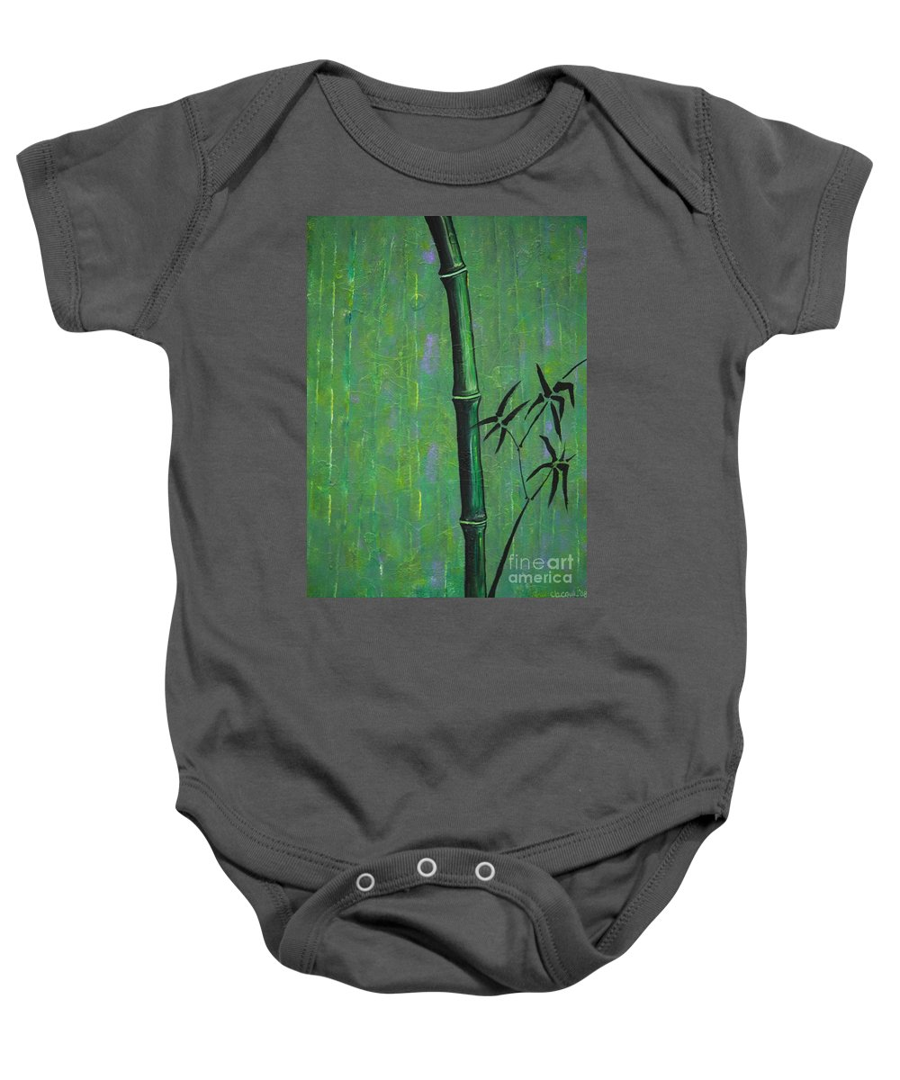 Bamboo Baby Onesie featuring the painting Bamboo by Jacqueline Athmann