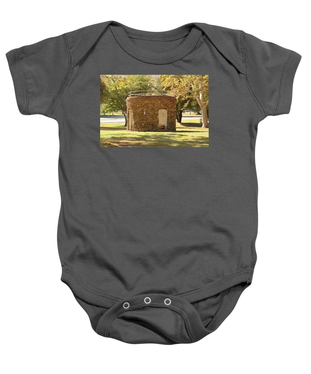 Bakersfield Baby Onesie featuring the photograph Bandstand Drinking Fountain by Art Block Collections