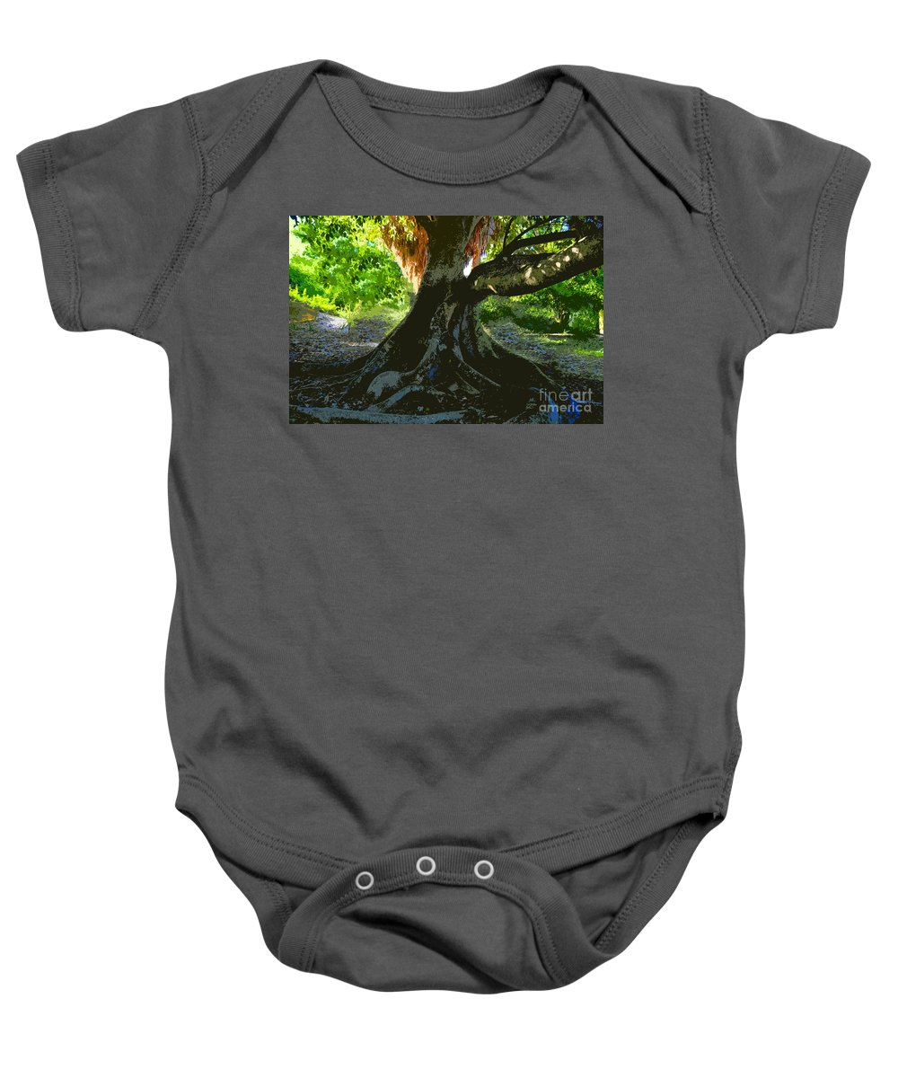 Banyan Tree Baby Onesie featuring the painting Banyan by David Lee Thompson