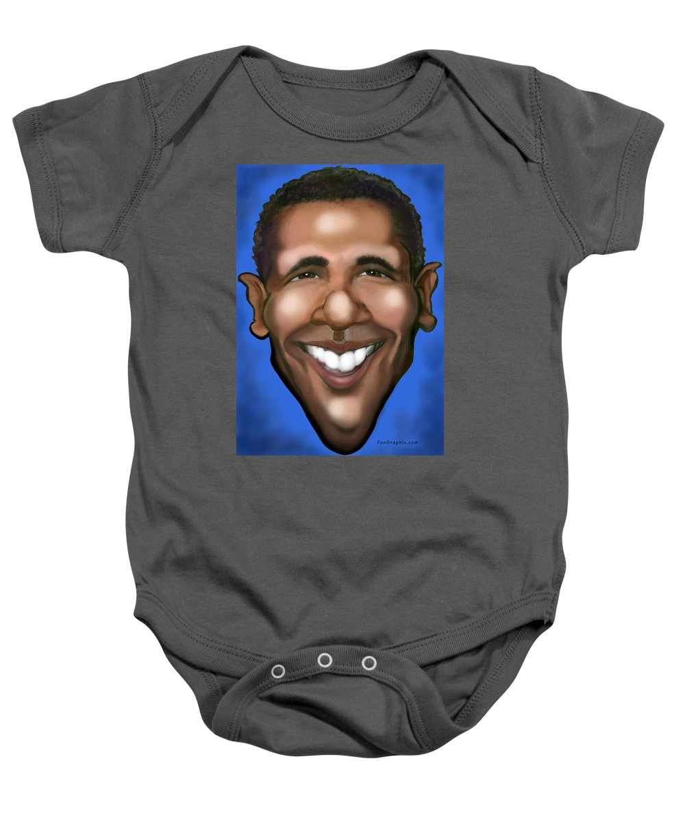 Barack Obama Baby Onesie featuring the painting Barack Obama by Kevin Middleton