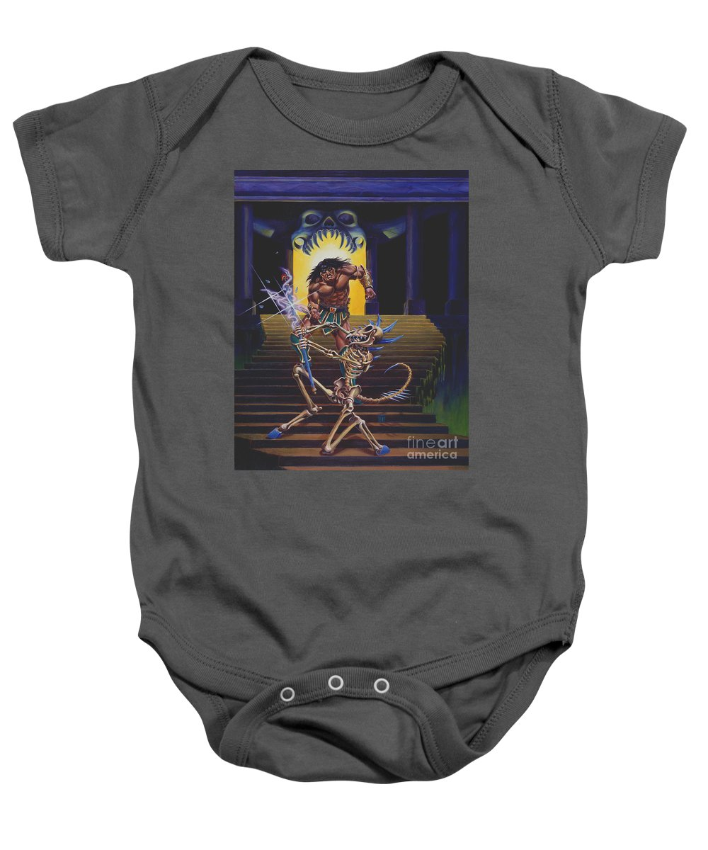 Fantasy Baby Onesie featuring the painting Barbarian And Skeleton Wizard by Melissa A Benson