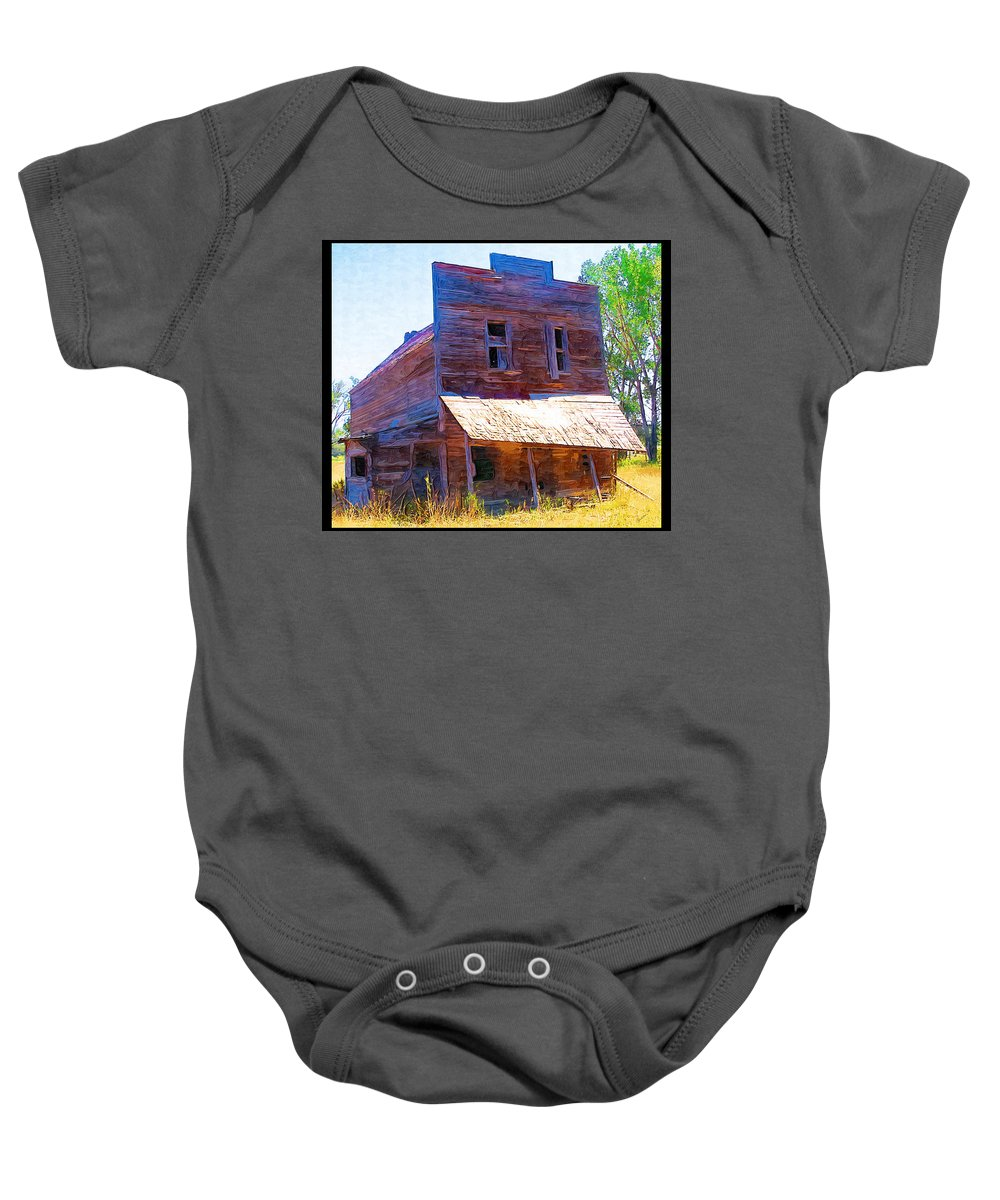 Barber Montana Baby Onesie featuring the photograph Barber Store by Susan Kinney