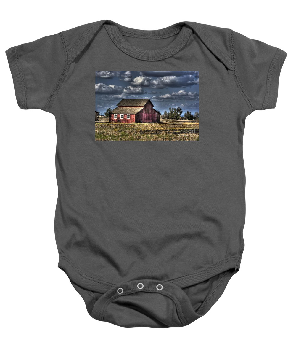 Barn Baby Onesie featuring the photograph Barn After Storm by Jim And Emily Bush