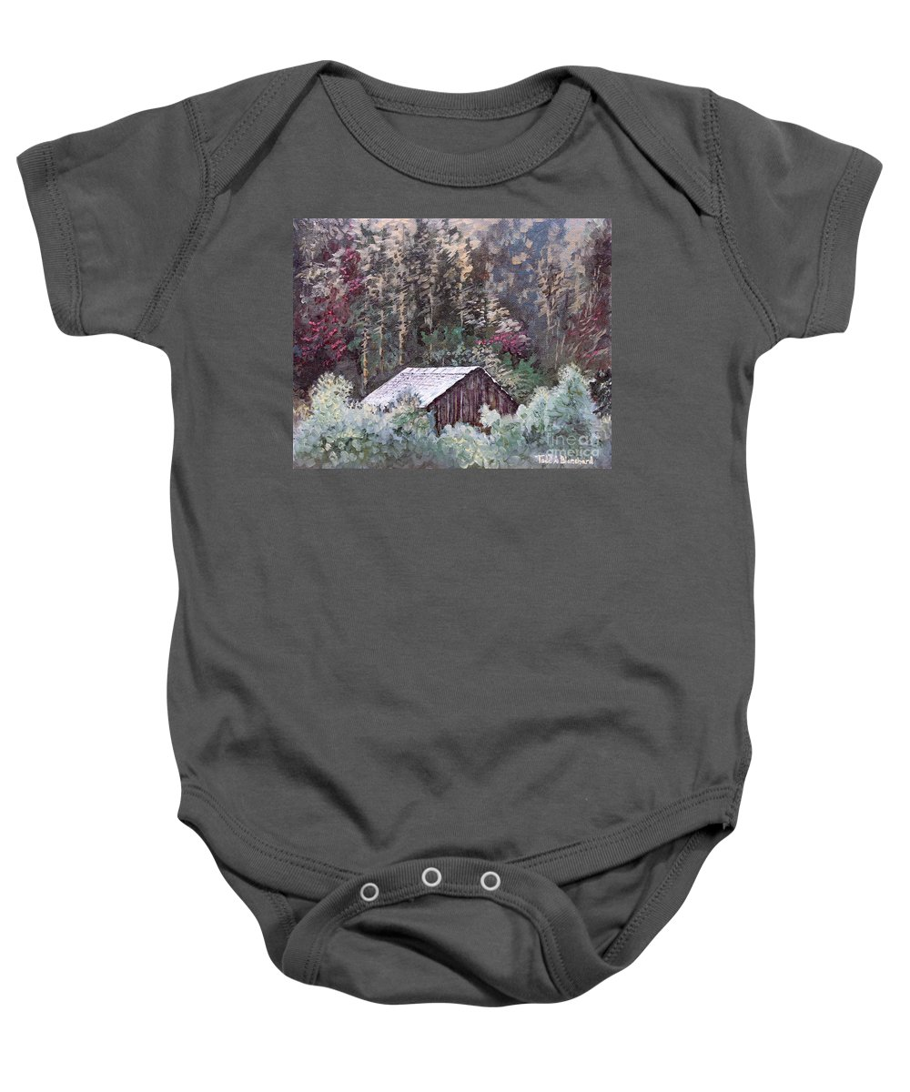 Landscape Baby Onesie featuring the painting Barn At Cades Cove by Todd A Blanchard