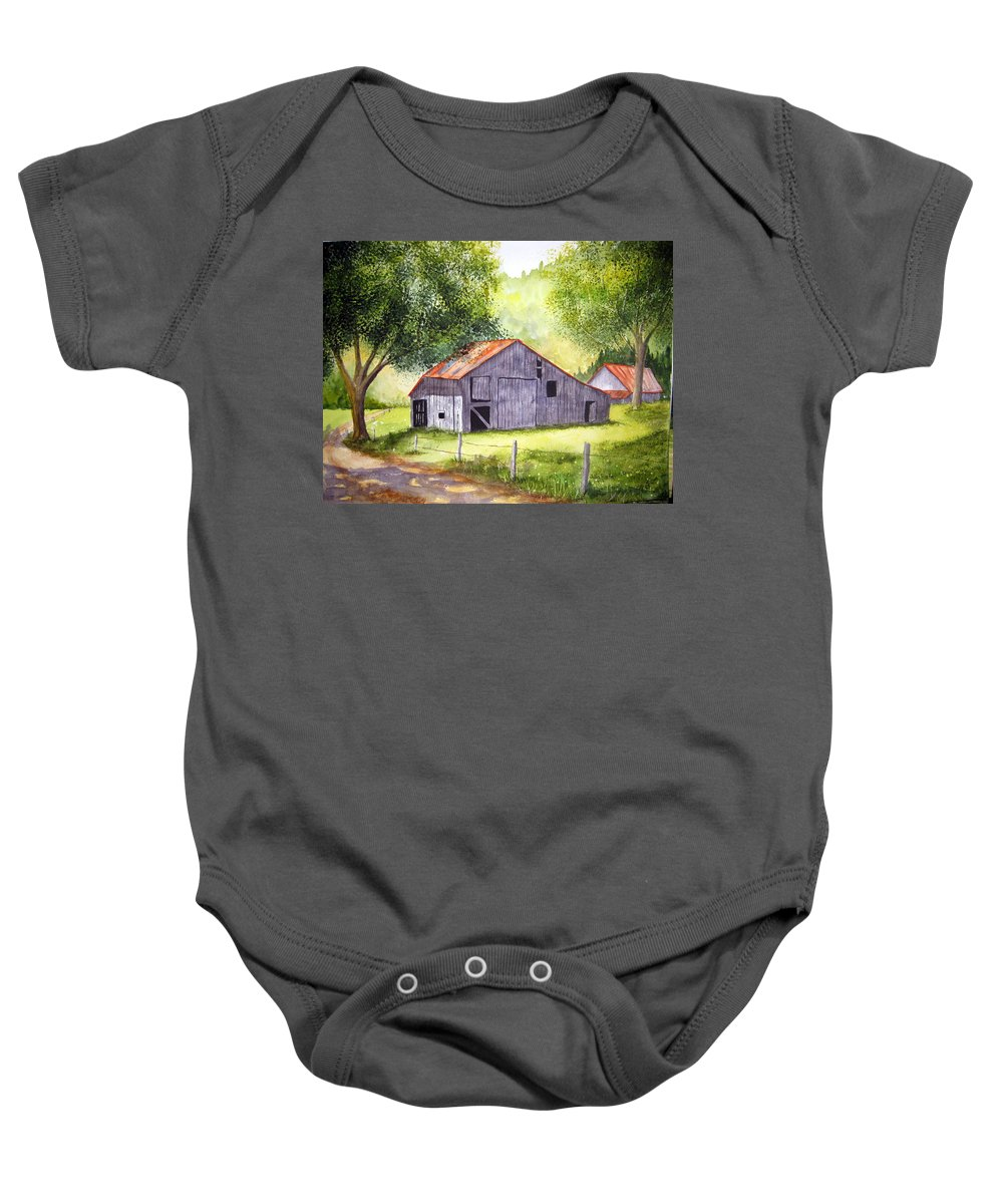 Nc Baby Onesie featuring the painting Barn By The Road by Julia RIETZ