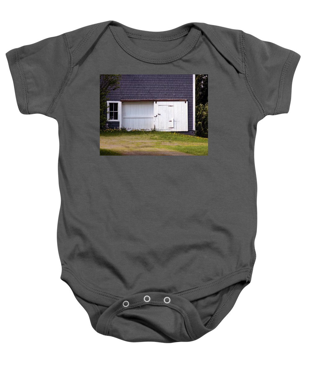 Barns Baby Onesie featuring the photograph Barn Doors by William Tasker