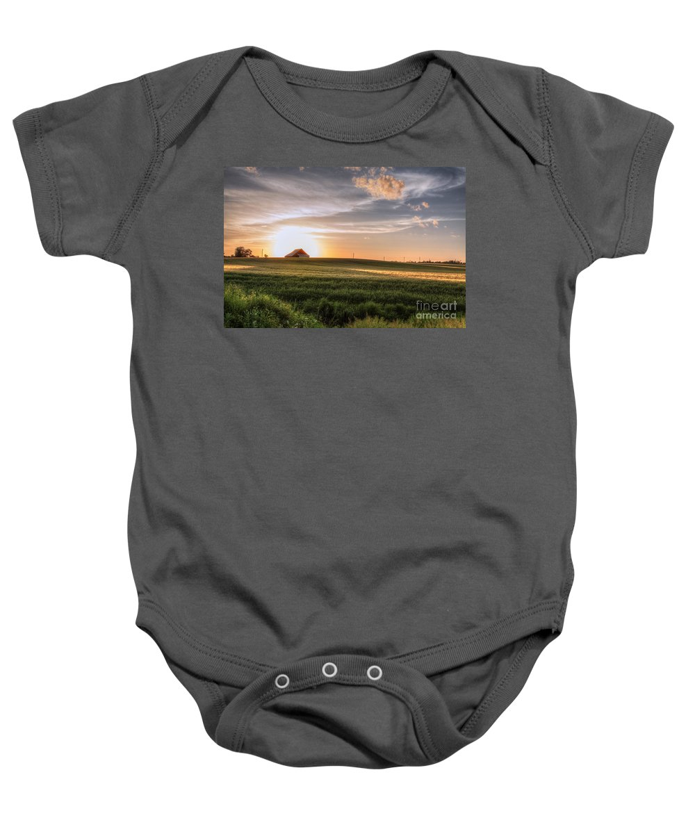 2015 Baby Onesie featuring the photograph Barn In A Wheat Field by Larry Braun