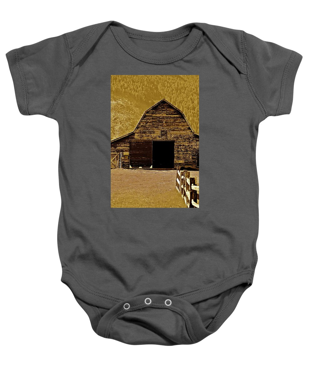 Barn Baby Onesie featuring the photograph Barn In Sepia by Diana Hatcher