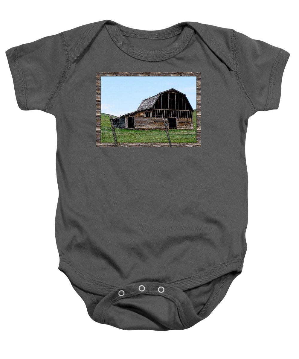 Enhanced Photography Baby Onesie featuring the photograph Barn by Susan Kinney