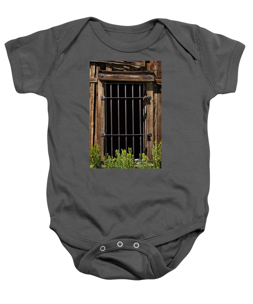 Jail Baby Onesie featuring the photograph Barred by Kelley King