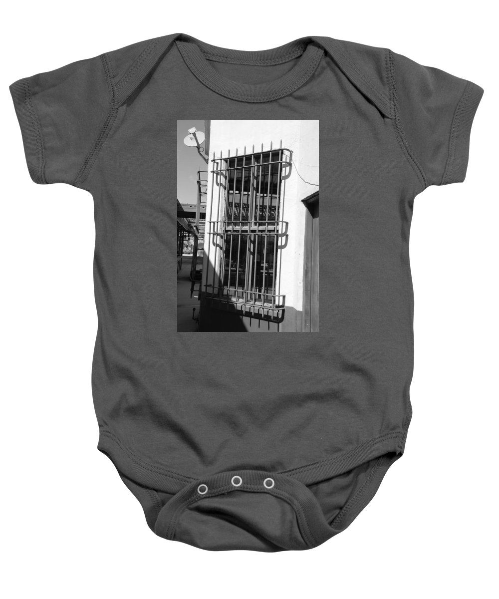 Train Station Baby Onesie featuring the photograph Bars by Rob Hans