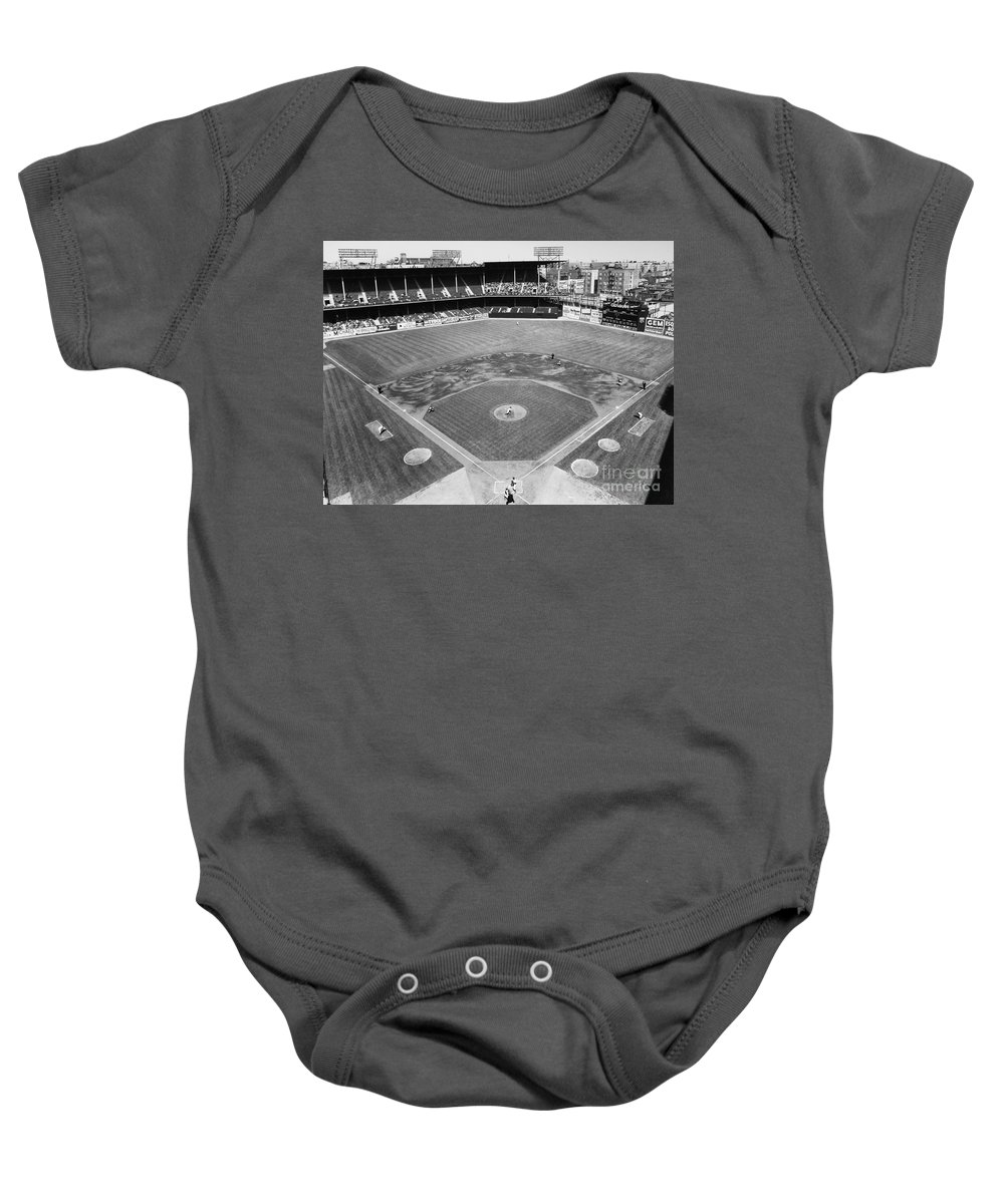 1953 Baby Onesie featuring the photograph Baseball Game, C1953 by Granger