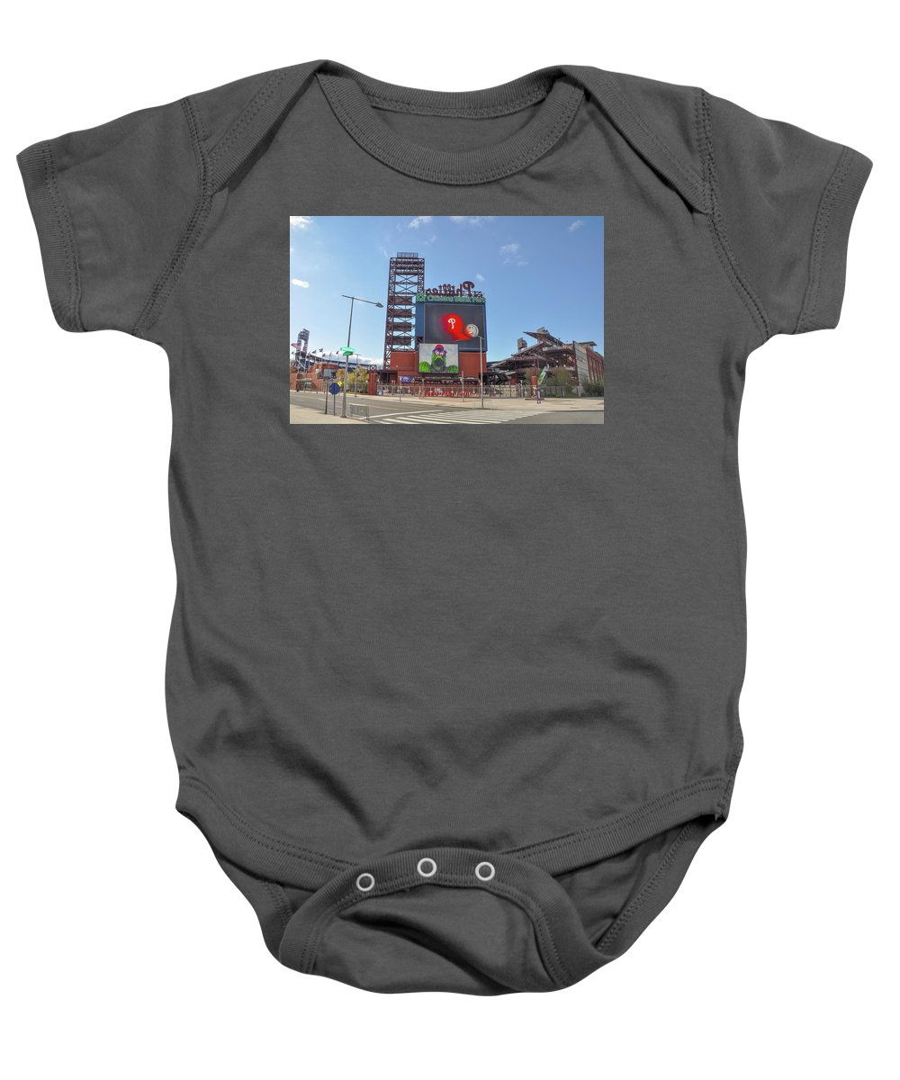 Baseball Baby Onesie featuring the photograph Baseball In Philadelphia - Citizens Bank Park by Bill Cannon