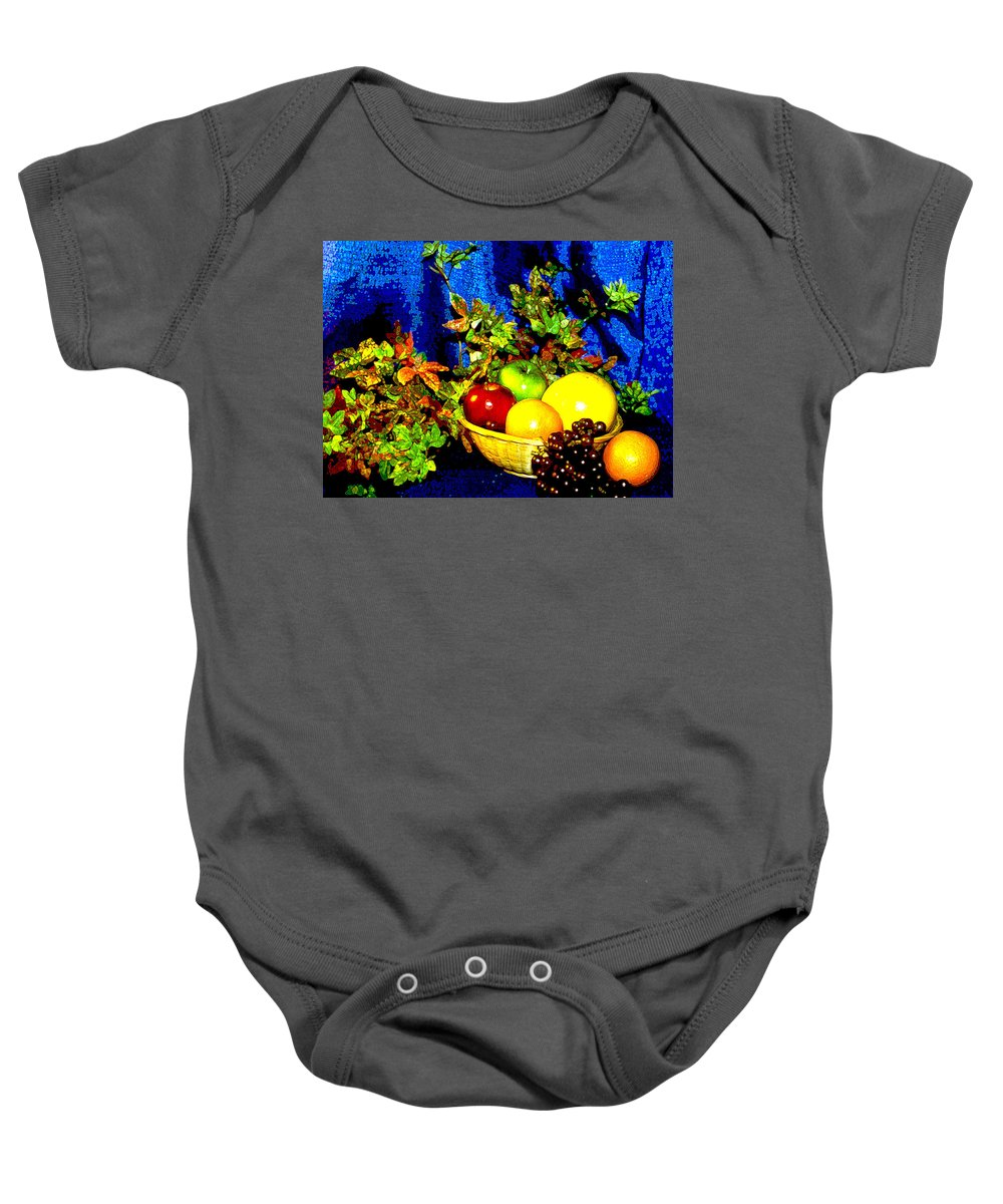 Fruit Baby Onesie featuring the photograph Basket With Fruit by Nancy Mueller