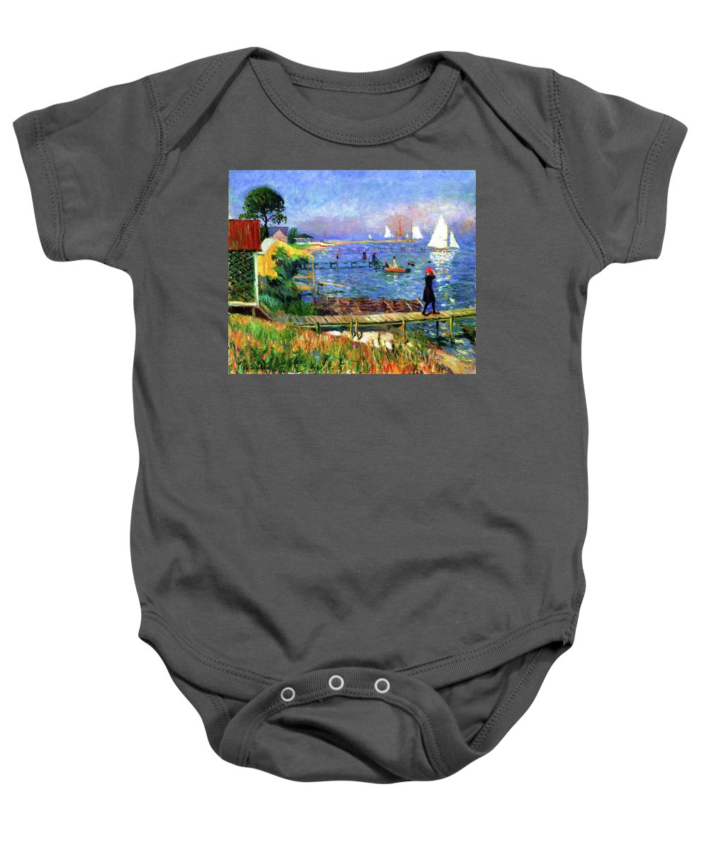 Seascape Baby Onesie featuring the painting Bathers At Bellport by D Fessenden