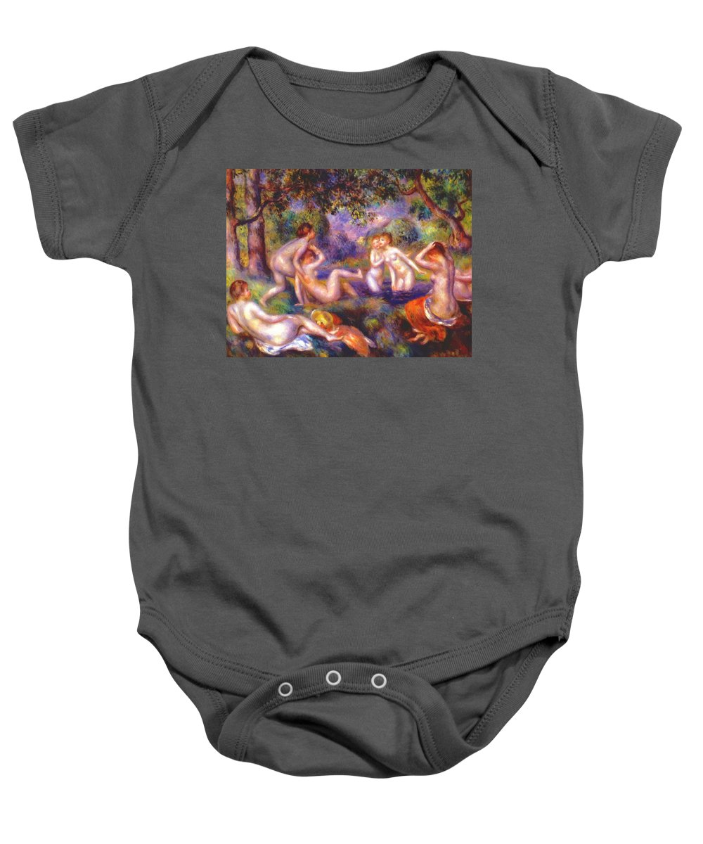 Bathers Baby Onesie featuring the painting Bathers In The Forest by Renoir PierreAuguste