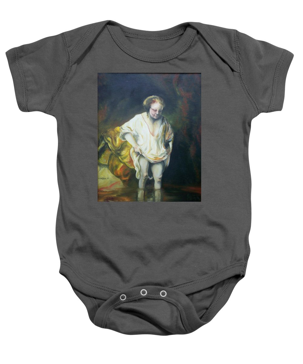 Rembrandt Baby Onesie featuring the painting Bathing Woman by Gary Hogben