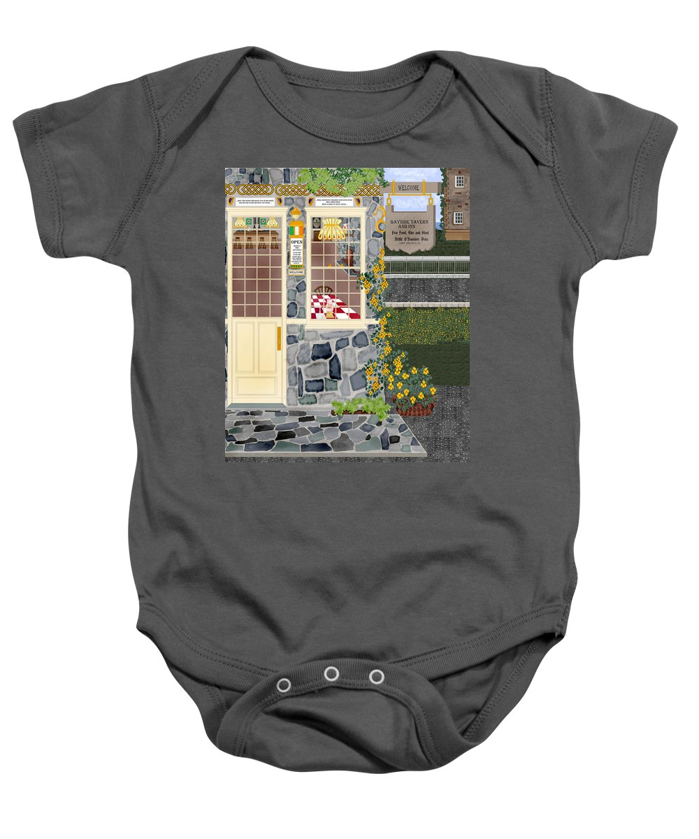 Quaint Inn Baby Onesie featuring the painting Bayside Inn And Tavern In Ireland by Anne Norskog