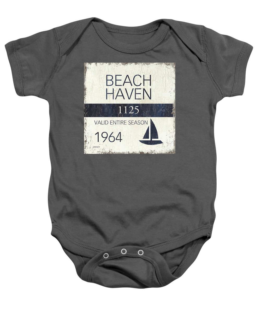 Beach Baby Onesie featuring the painting Beach Badge Beach Haven by Debbie DeWitt